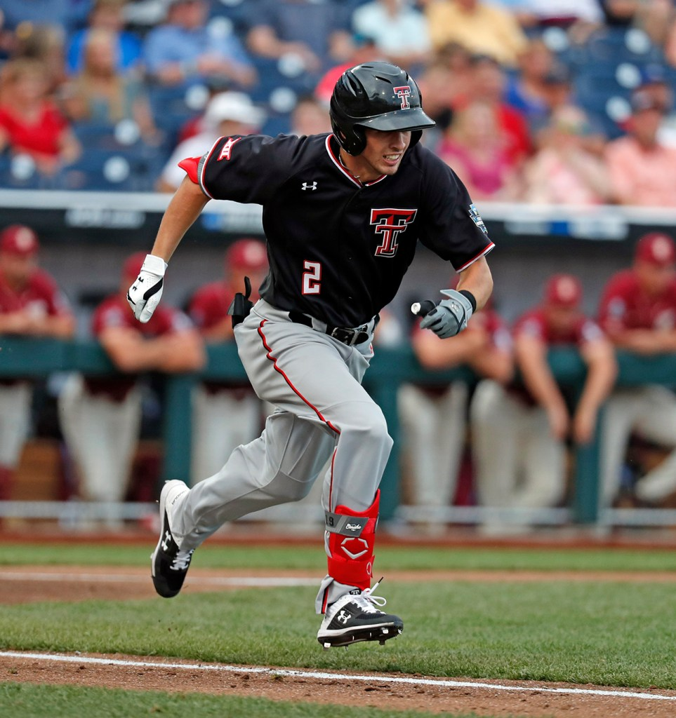 Texas Tech's Gabe Holt (2) runs to first base during the College World Series game against Florida State, Wednesday, June 19, 2019, at TD Ameritrade Park in Omaha, Neb. [Brad Tollefson/A-J Media]