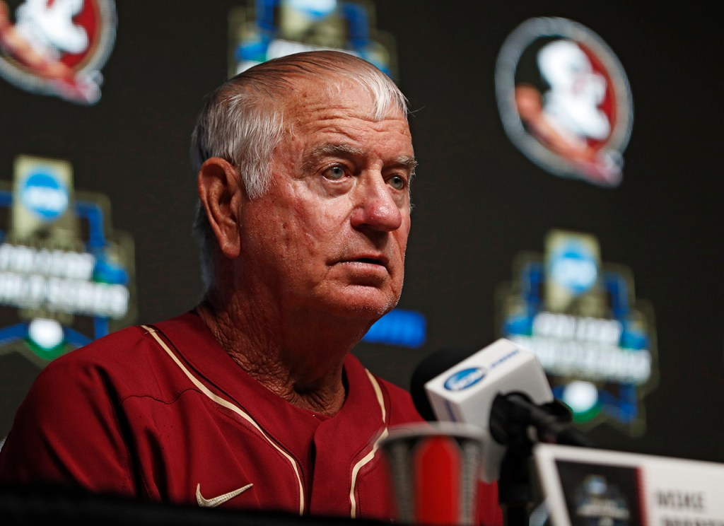 Florida State coach Mike Martin talks to the media after the College World Series game against Texas Tech, Wednesday, June 19, 2019, at TD Ameritrade Park in Omaha, Neb. [Brad Tollefson/A-J Media]