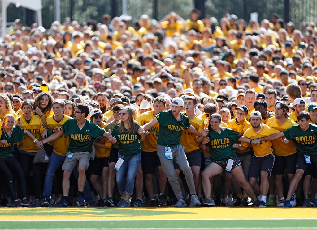 Baylor fans prepare to run onto the field before the game against Texas Tech, Saturday, Oct. 12, 2019, at McLane Stadium in Waco, Texas.
