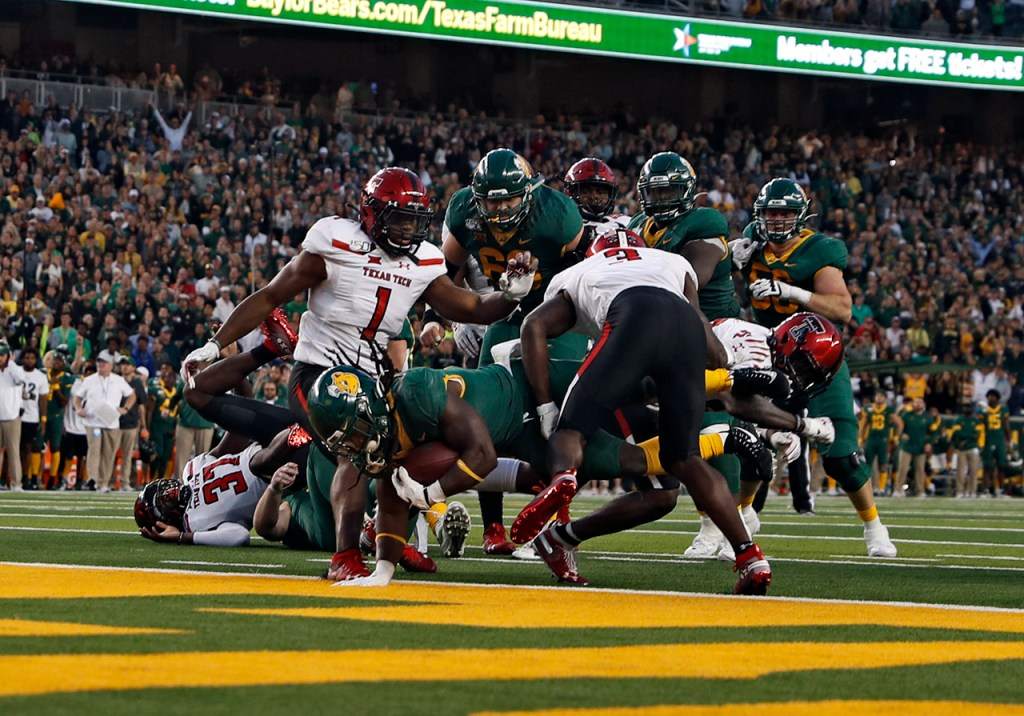 Baylor's JaMycal Hasty (6) scores the game-winning touchdown in the second overtime period during the game against Texas Tech, Saturday, Oct. 12, 2019, at McLane Stadium in Waco, Texas. [Brad Tollefson/A-J Media]