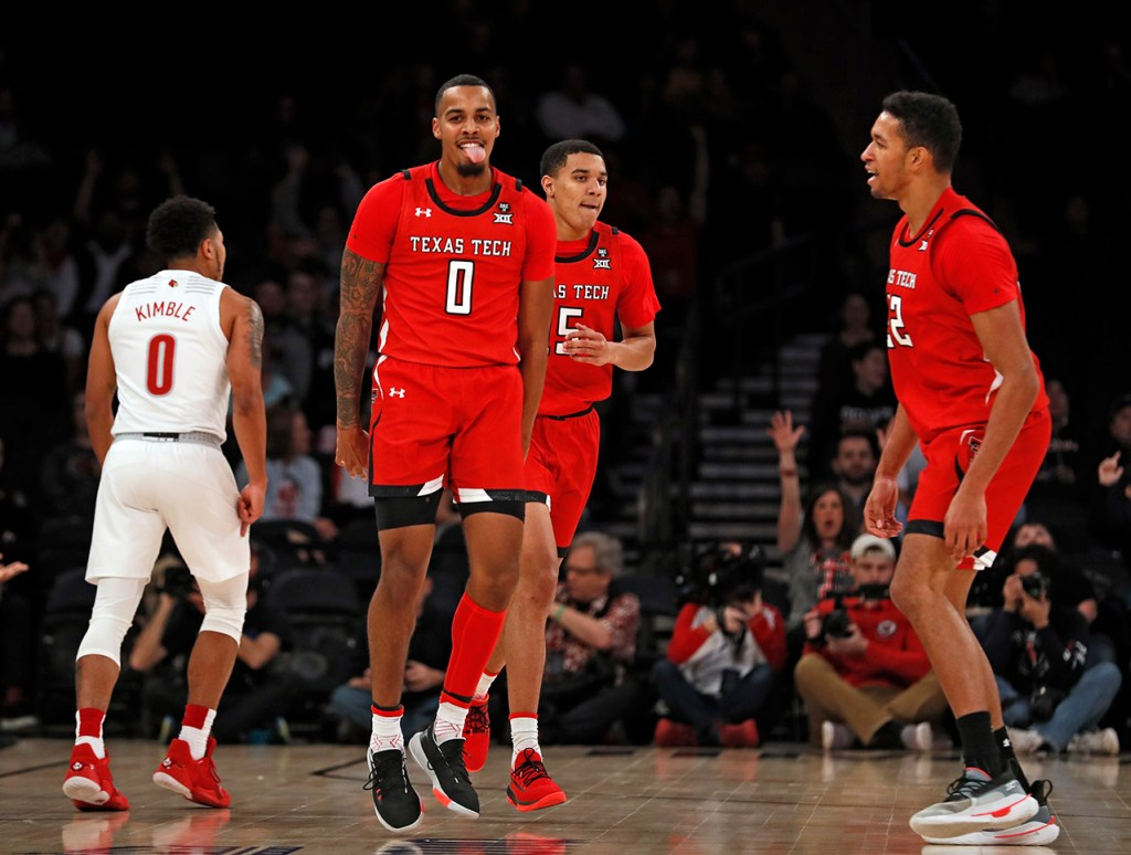 Texas Tech's Kyler Edwards (0) celebrates after scoring three points during the first half of the Jimmy V Classic game Tuesday, Dec. 10, 2019, at Madison Square Garden in New York, N.Y. [Brad Tollefson/A-J Media]
