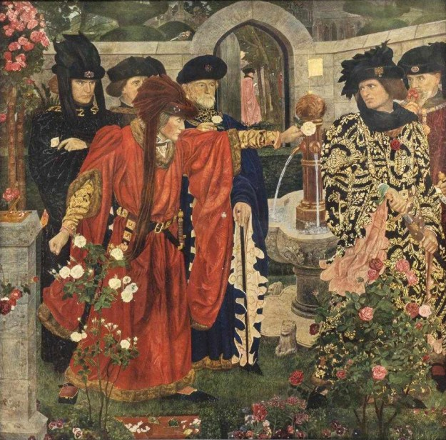 """""""Plucking the Red and White Roses in the Old Temple Gardens,"""" by Henry Albert Payne"""