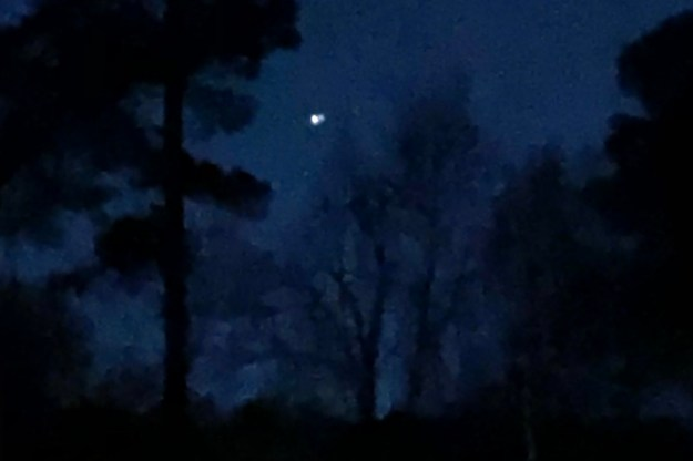 This was the best I could do with my phone tonight. That's Jupiter on the left, Saturn crowding it on the right.