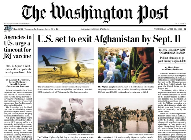 The Post's print edition had the Afghanistan story presented with proper perspective. But how many people still read the Post this way? I don't.