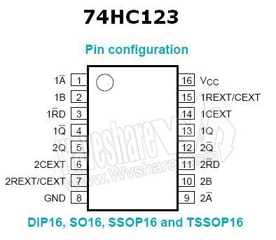 74HC123 Dual monostable multivibrator