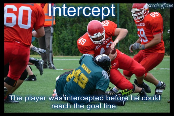 image sentence: The player was intercepted before he could reach the goal line.