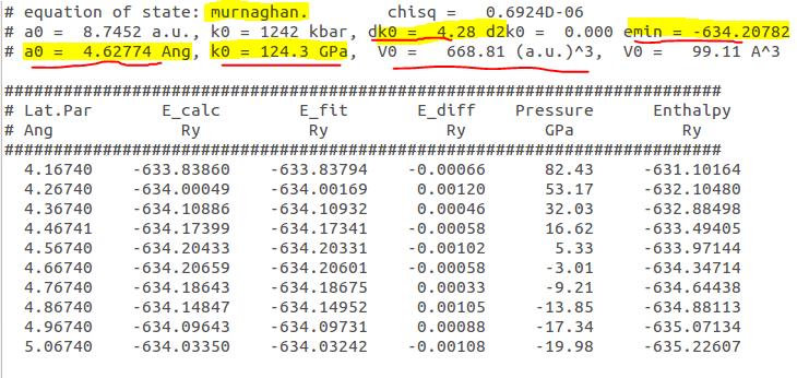 Bulk Modulus calculation using Quantum ESPRESSO - BragitOff com