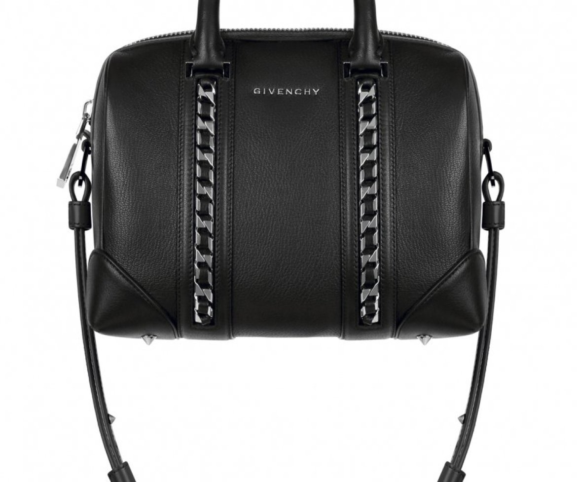 b56c1416093b0 Small Lucrezia bag in black grained leather with chains