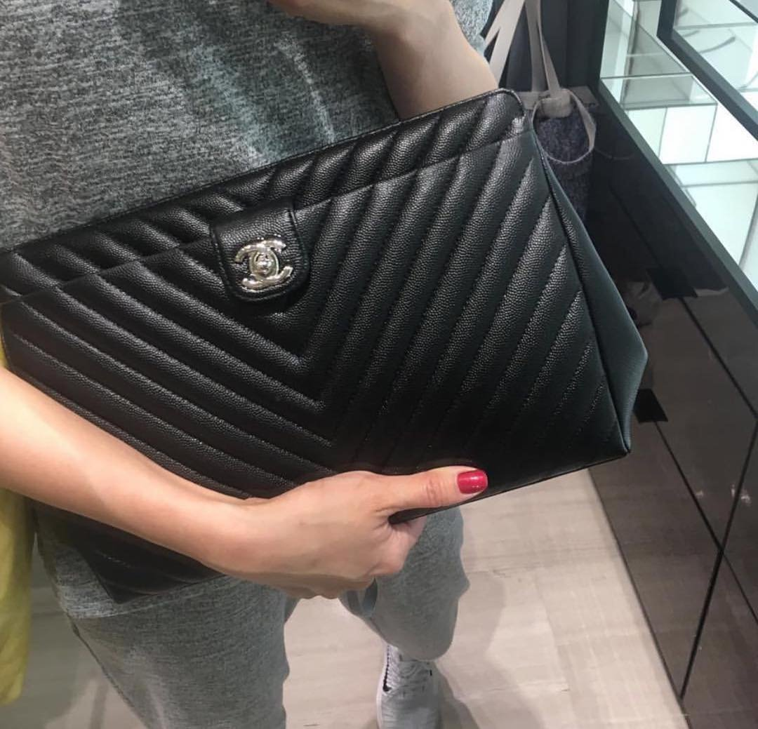 Chanel Chevron Quilted Pouches Bragmybag