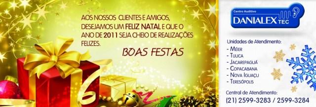 Anúncio de Feliz Natal e Feliz Ano Novo para Danialex TEC 2010