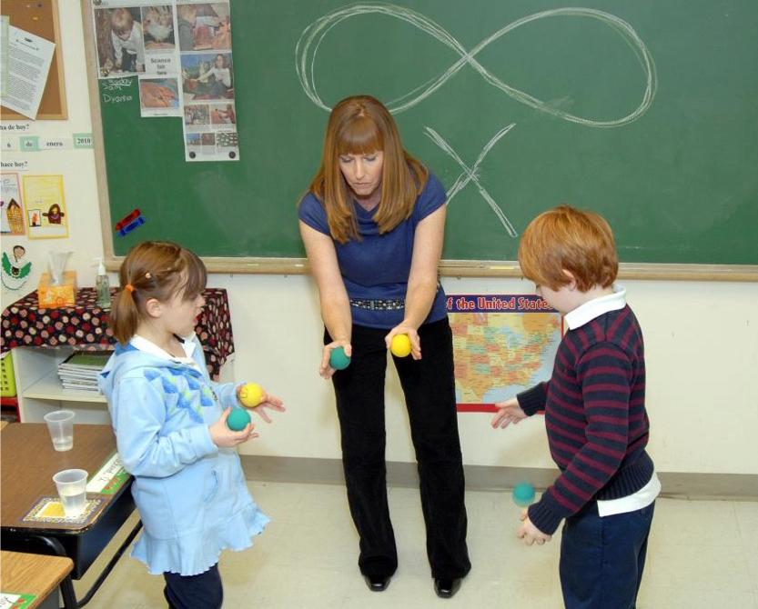 Class Photo of Teacher instructing Brain Gym Lazy 8's