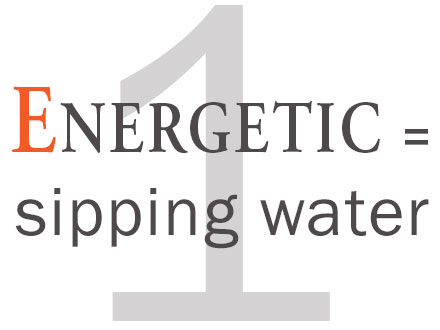 1. Energetic - sipping water
