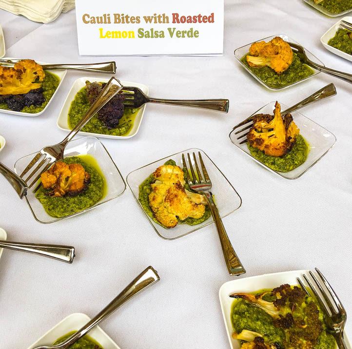 Cauliflower Bites with Roasted Lemon Salsa Verde