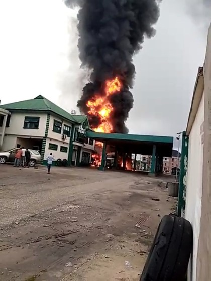 A Filling Station In Port Harcourt Is On Fire