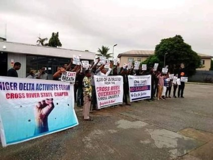 Woman Collapses While Protesting Against Her Sack By Cross River State Govt