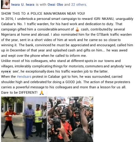 #EndSARS Protesters In Calabar Celebrate Traffic Warden For His Hard Work And Dedication