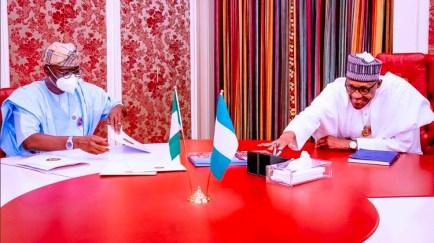 Gov Sanwo-Olu Meets President Buhari In Aso Rock