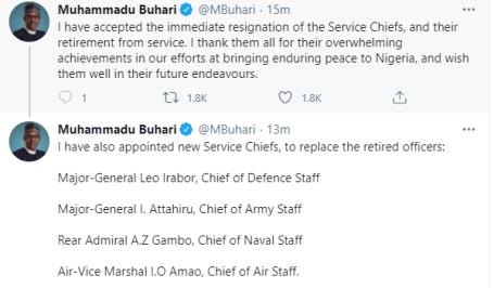 President Buhari Sacks Service Chiefs, Announces Their Replacements