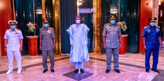 See Photos As President Buhari Meets Newly Appointed Service Chiefs