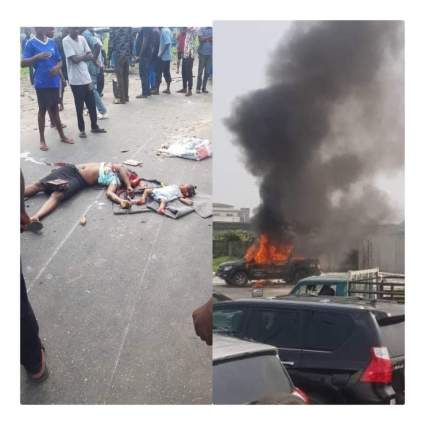 Mother And Child Crushes To Death By Police Van While Chasing Yahoo Boys