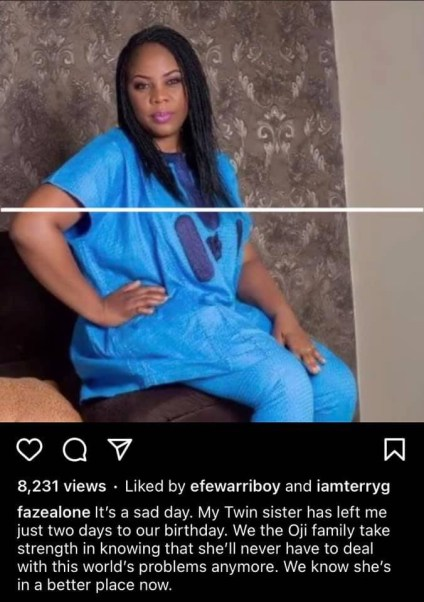 Nigerian Singer Faze Loses Twin Sister Two Days To Their Birthday