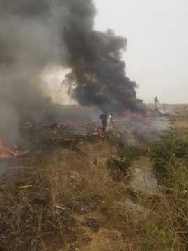 Photos, Video From The Military Aircraft Crash In Abuja