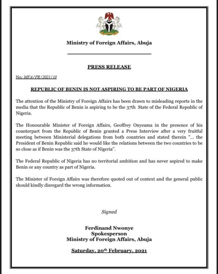 Republic Of Benin Is Not Aspiring To Be A State In Nigeria - Federal Govt