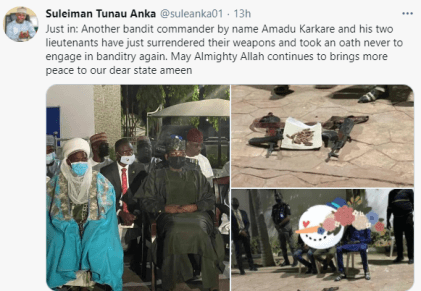 See Photos As Repentant Bandits Surrender Their Arms In Zamfara