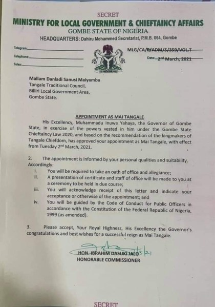 Gov Yahaya Appoints Malam Maiyamba As New Mai Tangle In Spite Of Protest