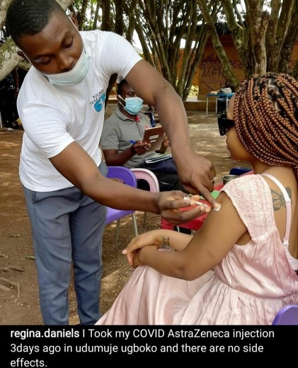 Regina Daniels Shares Photos Of Her Taking COVID-19 Vaccine