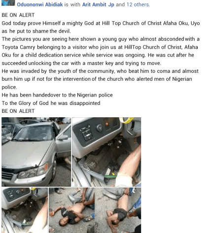 Suspected Thief Caught While Attempting To Steal Car From Church In Akwa Ibom