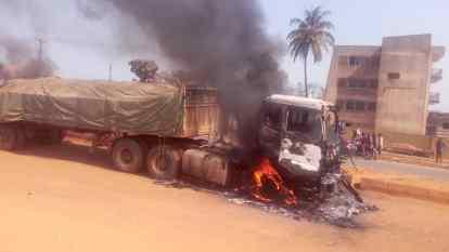 Mob Sets Dangote Truck Ablaze For Crushing Okada Rider, Passenger To Death In Ogun