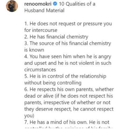 Reno Omokri Lists 10 Qualities Of A Good Husband Material