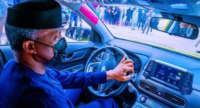 Watch Video As VP Osinbajo Test Drives Nigerian-Made Kona Electric Car