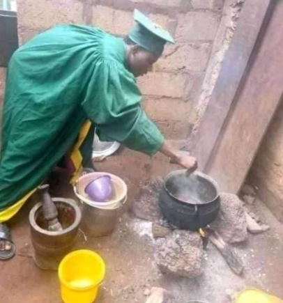 See Photos As University Undergraduate Cooks, Sleeps In His Matriculation Gown To Make The Most Of The Money He Paid For It