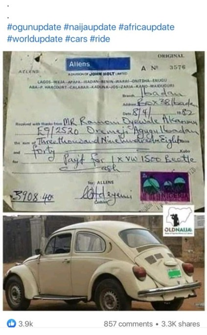 The Cost Of A Volkswagen In 1982
