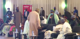 Watch The Moment EFCC Chairman Staggered Off Stage While Speaking At An Event In Abuja