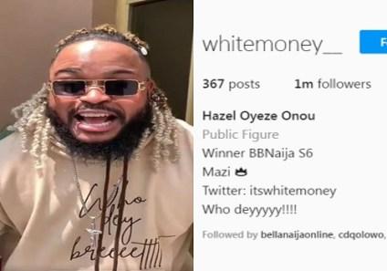 2021 BBNaija Winner, Whitemoney Hits 1m Followers On Instagram