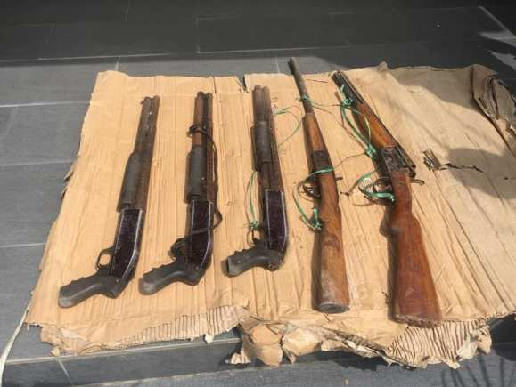 Lagos Police Uncovers Guns Hidden Inside An Uncompleted Building