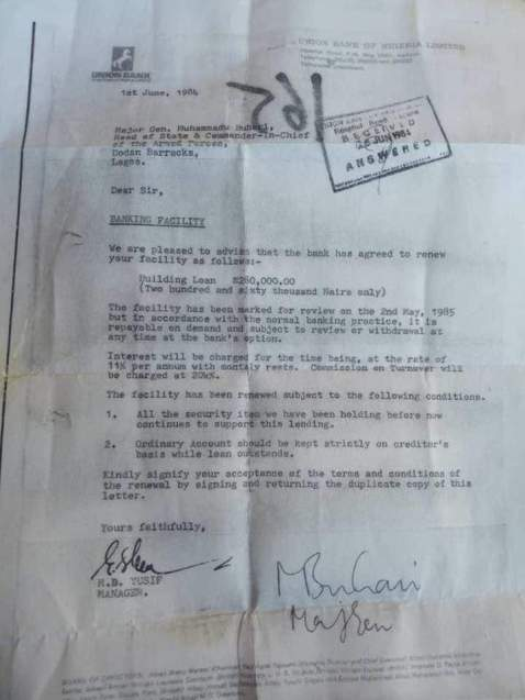 Buhari's Union Bank Loan Offer Letter In 1984