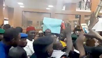 Moment Ekweremadu Was Blocked From Entering Senate Chambers