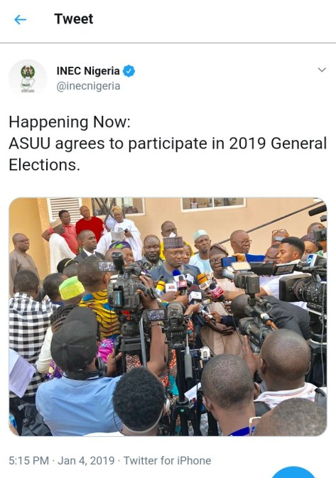 ASUU To Partake In 2019 Elections