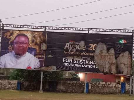 Ayade's Billboard Destroy In Cross River Ahead Of 2019 Polls