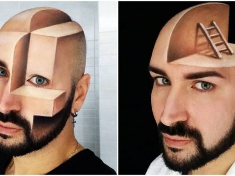Talented Makeup Artist Turned His Face Into 3D Optical Illusions