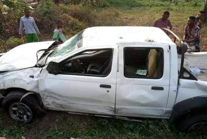 Akwa Ibom - INEC Vehicle Conveying Ballot Papers Involved In Accident