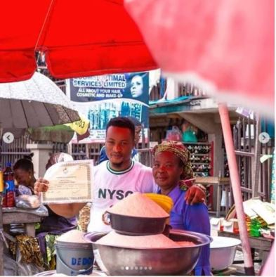 Handsome Ex-Corper Celebrates With Mother At The Market After Passing Out