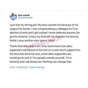 Man Sacked For Supporting Buhari