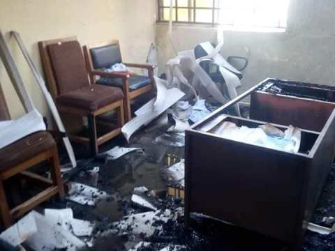 Photos From The INEC Office In Akwa Ibom Burnt Hours To Governorship Election