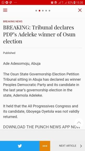 Tribunal Declares Ademola Adeleke Of PDP Winner Of 2018 Osun Election