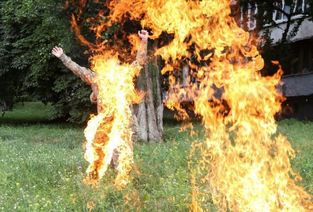 A Middle-aged Man Sets Himself Ablaze